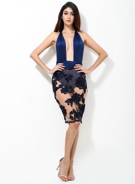 dress les bijouteries transparent transparent dress plunge neckline deep  plunge blue dress blue prom dress blue 129cef30b