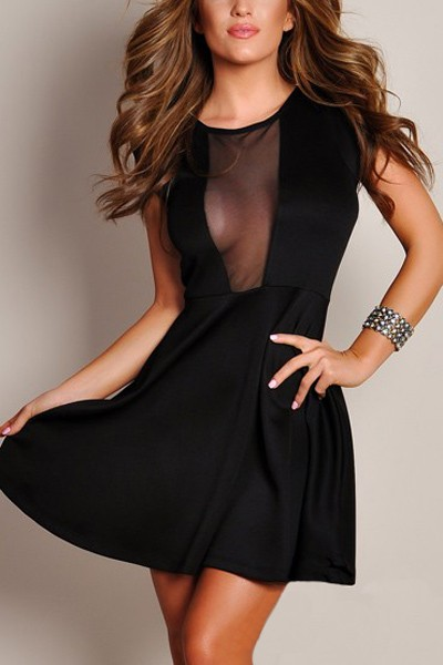 Black Sheer Mesh Cutout Skater Dress