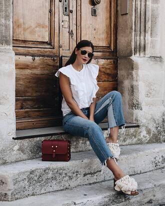 top tumblr sleeveless sleeveless top ruffle denim jeans cropped jeans bag red bag shoes mules sunglasses