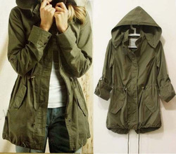Shop Womens Hoodie Drawstring Army Green Military Trench Parka ...