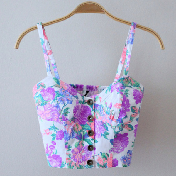 tank top clothes bustier floral crop tops pink white purple pretty floral tank top