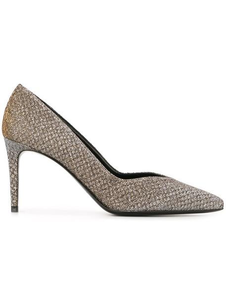 Saint Laurent paris women pumps leather cotton grey camel metallic shoes