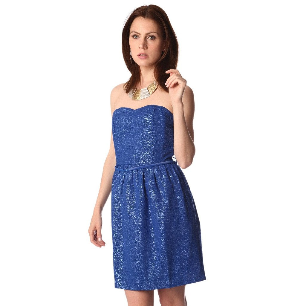 Electric blue strapless party dress