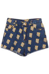 shorts,the simpsons,jeans,denim shorts,bag
