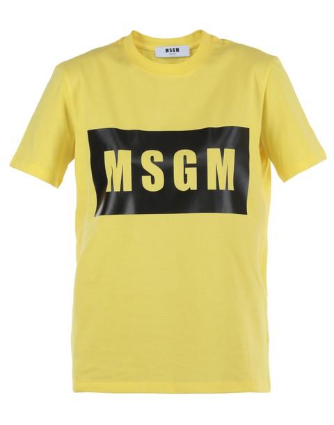 MSGM t-shirt shirt cotton t-shirt t-shirt cotton yellow top