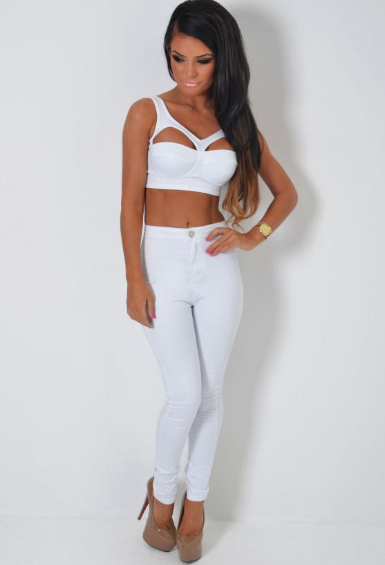 Jalisa White Skinny Stretch Jeans | Pink Boutique