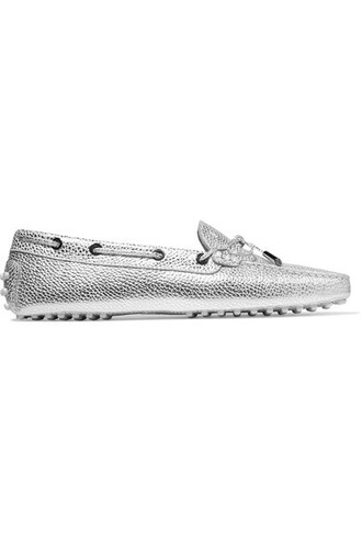 metallic loafers silver leather shoes