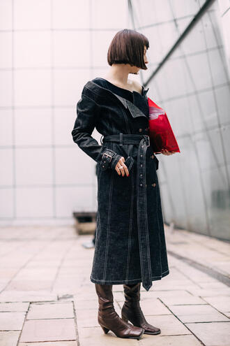 dress london fashion week 2017 fashion week 2017 fashion week streetstyle denim dress midi dress long sleeves long sleeve dress off the shoulder off the shoulder dress boots brown boots hairstyles