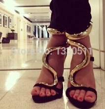 Fashion stiletto sandal luxury gz style high heels giuseppe suede gold snake heels ,lady sandals in black