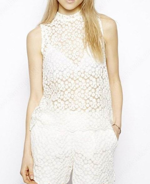 top white lace top lace top white top white blouse vest fashion high neck
