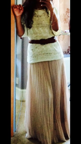 skirt cream pleated maxi skirt