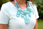 jewels,pastel,blue,baby blue,beaded,chunky necklace,white