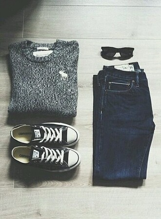 sweater sunglasses jeans converse spring fall outfits comfy classy shoes