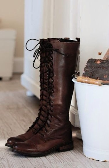 shoes lace up boots fall knee length