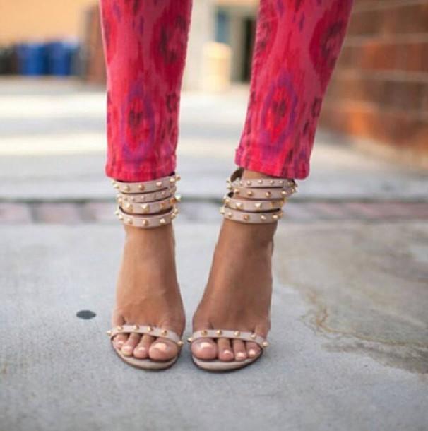 shoes high heels sexy sandals beige spikes gold. Black Bedroom Furniture Sets. Home Design Ideas