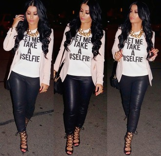 shirt blouse leather pants amrezy straps heels curly hair tumblr hipster grunge cute