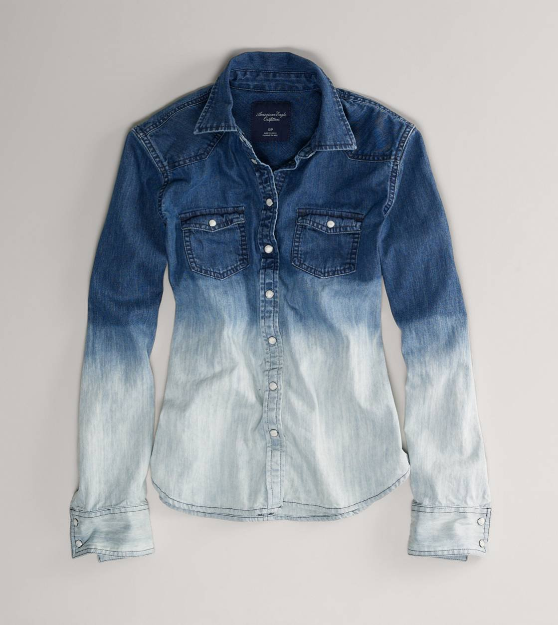 tukkumyyjä ennakkotilaus Alin hinta AE Ombre Denim Western Shirt | American Eagle Outfitters on ...