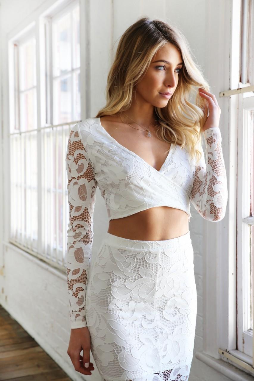 White lace cross over plunge neckline crop top