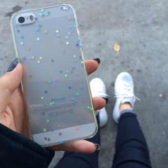phone cover iphone 5 case glitter clear stars iphone case soft grunge transparent