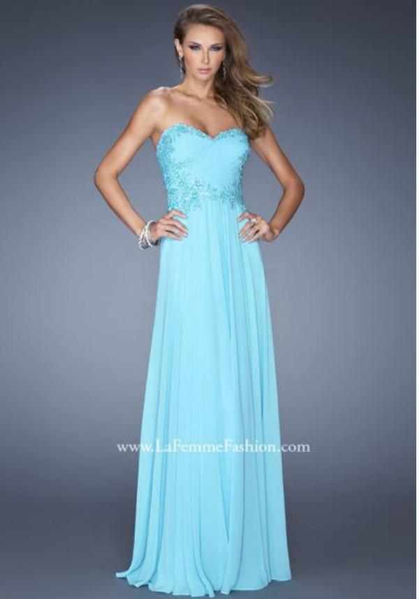 dress blue lace beading la femme prom prom dress long sweetheart chiffon