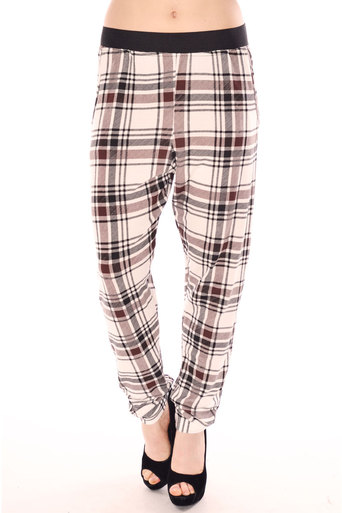 Tess Tartan Trouser In Mocha - Pop Couture