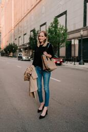 kelly in the city - a preppy chicago life,style and fashion blog,blogger,jeans,shoes,bag,coat,sweater,fall outfits,mid heel pumps,trench coat,tote bag