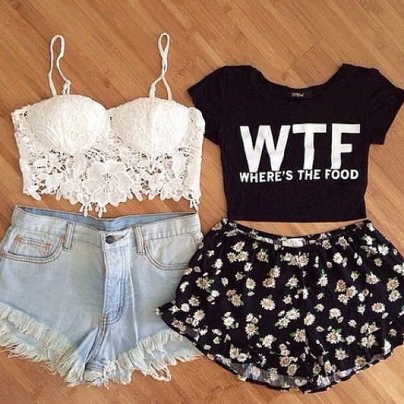 food fashion blouse wtf where the food in short shirts style white and black tshirt simple wtf where's the food crop top black white lace