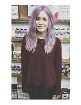 sweater gemma harry tattoo purple hair purple hair necklace letter quote on it smile eyebrows harry styles tattoo harrystyles purple dress burgundy jumper hair dye onedirection tank pastel hair hair accessory nail accessories