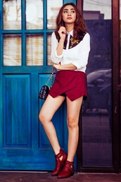 brewing happiness,blogger,top,bag,cut out ankle boots,skirt,skorts,burgundy