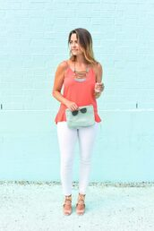 live more beautifully,blogger,tank top,jewels,jeans,shoes,bag,sunglasses,pink top,statement necklace,white jeans,skinny jeans,lace up,lace up flats,aviator sunglasses,clutch