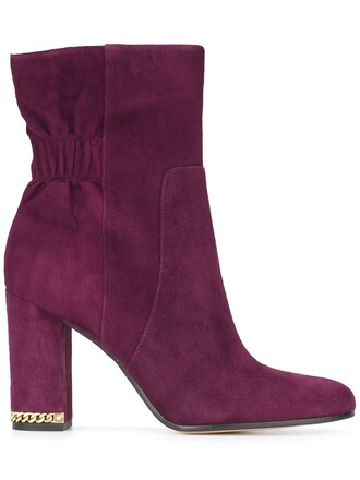 women boots leather suede purple pink shoes