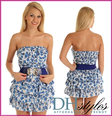 Blue White Floral Strapless Tiered Party Dress with Belt