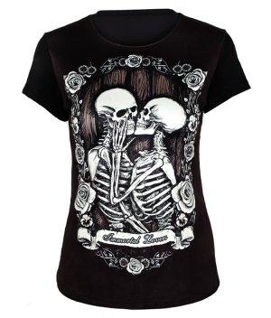 Girls Skeleton Couple Kissing Printed Steampunk T-shirts Sale [Steampunk T-shirts Sale] – $59.00 : Unique Design Steampunk Fashion Online Shop