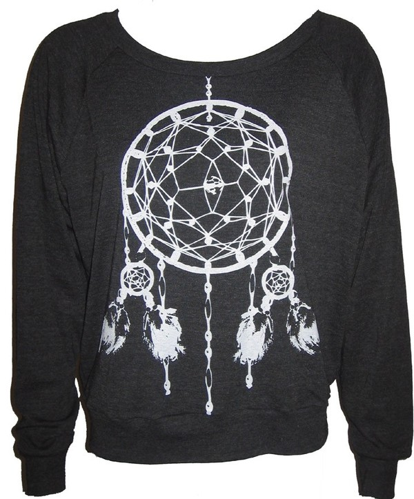 sweater crewneck etsy tumblr dreamcatcher cute sweater weather charcoal black