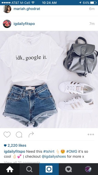 shirt tumblr cute shorts t-shirt shoes adidas superstars gold instagram google it idk white short sleeve white t-shirt grey bag backpack bag grey jeans short girl hot pants idk google it