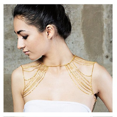 Shoulder gold multi chain · electric shop · online store powered by storenvy