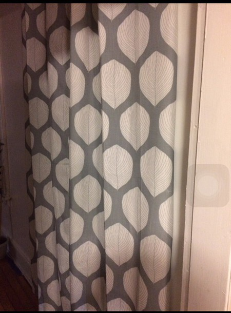 bag gray curtains with white  shells