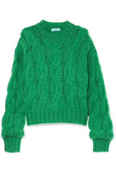 Prada - Cable-knit mohair-blend sweater