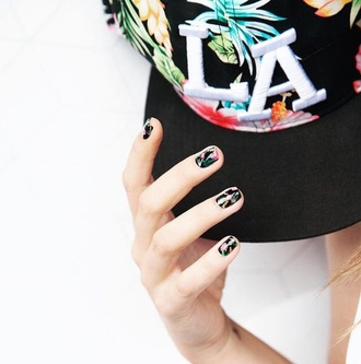 hair accessory cap hat floral summer hawaiian snapback black