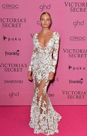 dress victoria's secret white dress lace dress nude dress long dress