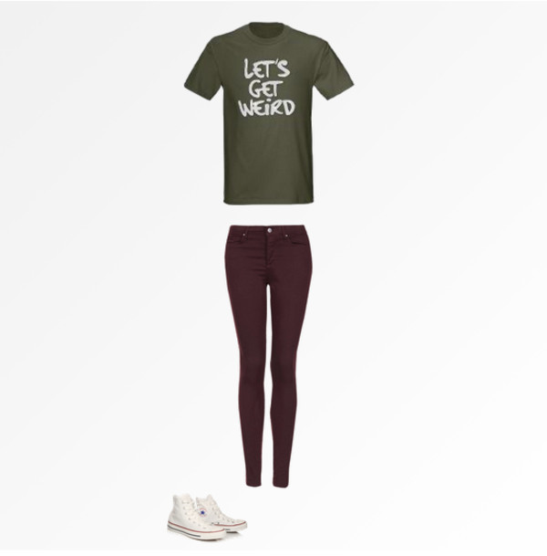 shirt get weird burgundy burgundy skinny jeans burgundy pants skinny jeans converse white converse army green army green t shirt green shirt green sexy lovely