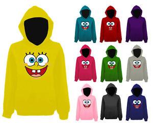 Womens Spongebob Squarepants Smiley Face Funny Pullover Hoodie New UK 12 22 | eBay