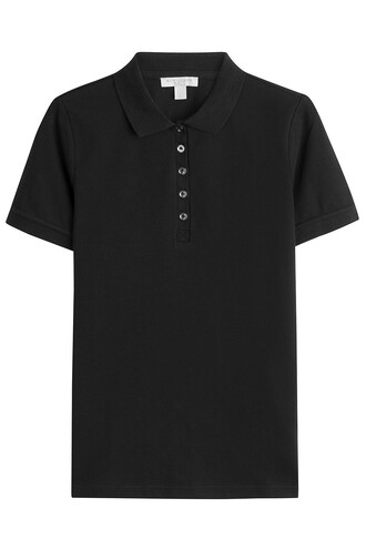 shirt polo shirt cotton black top