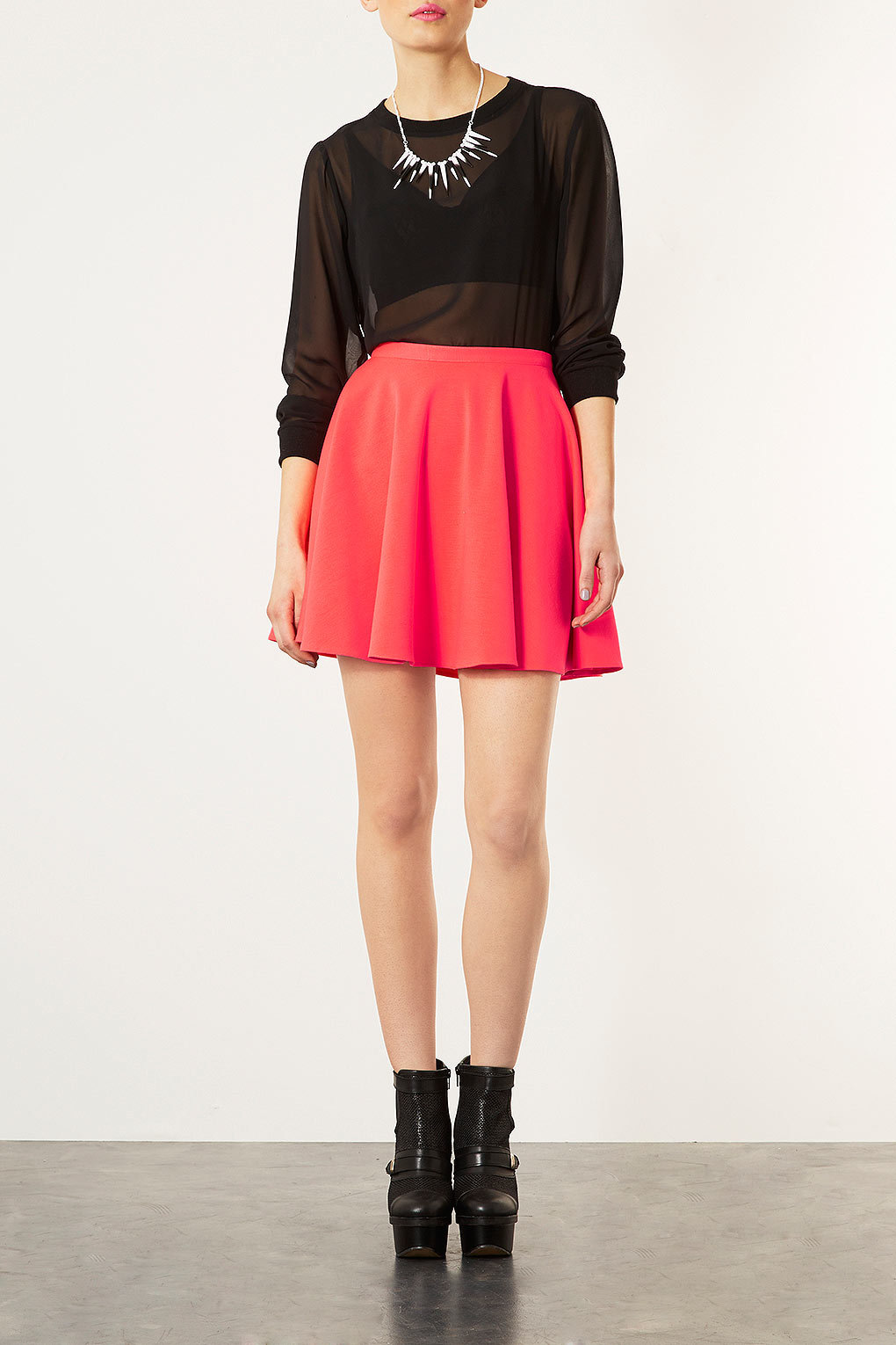 Fluro Pink Skater Skirt - Topshop USA on Wanelo