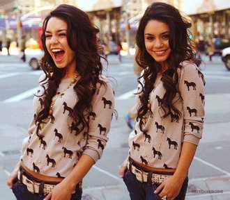 shirt vanessa hudgens long sleeves pattern patterned sweater horse clothes white black sweater sweatshirt vanessa hudgens nude brown print cute beige blouse