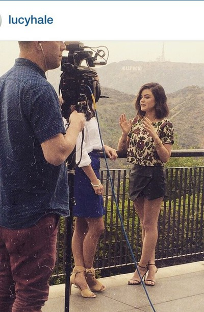 skirt skorts lucy hale blouse black heels black skirt fashion pretty little liars spring summer dress shoes shirt