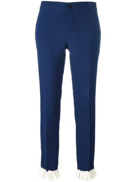 gucci women fit blue silk wool pants