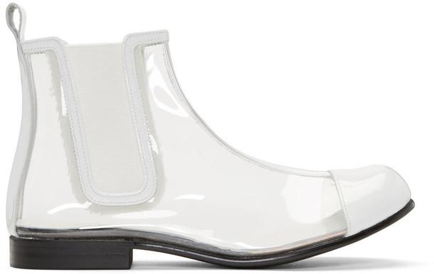 Comme Des Garçons Clear and White Pvc Chelsea Boots