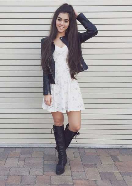 dress white black tumblr boots cute jacket shoes
