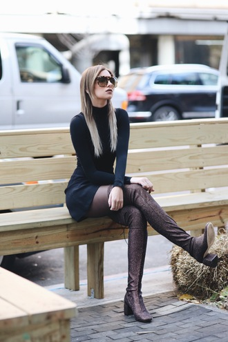 we wore what blogger dress shoes sunglasses mini dress long sleeve dress thigh high boots boots black dress tumblr little black dress long sleeves tights over the knee boots mid heel boots glitter shoes